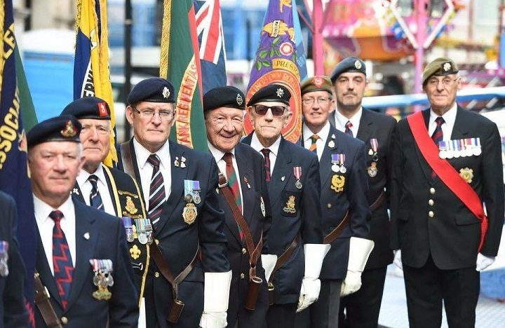 Councillor Davies, pictured furthest right, at a recent military parade