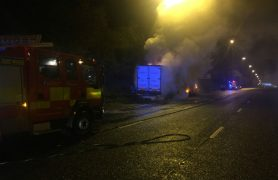 Fire crews deal with the vehicle fire Pic: North West Motorway Police