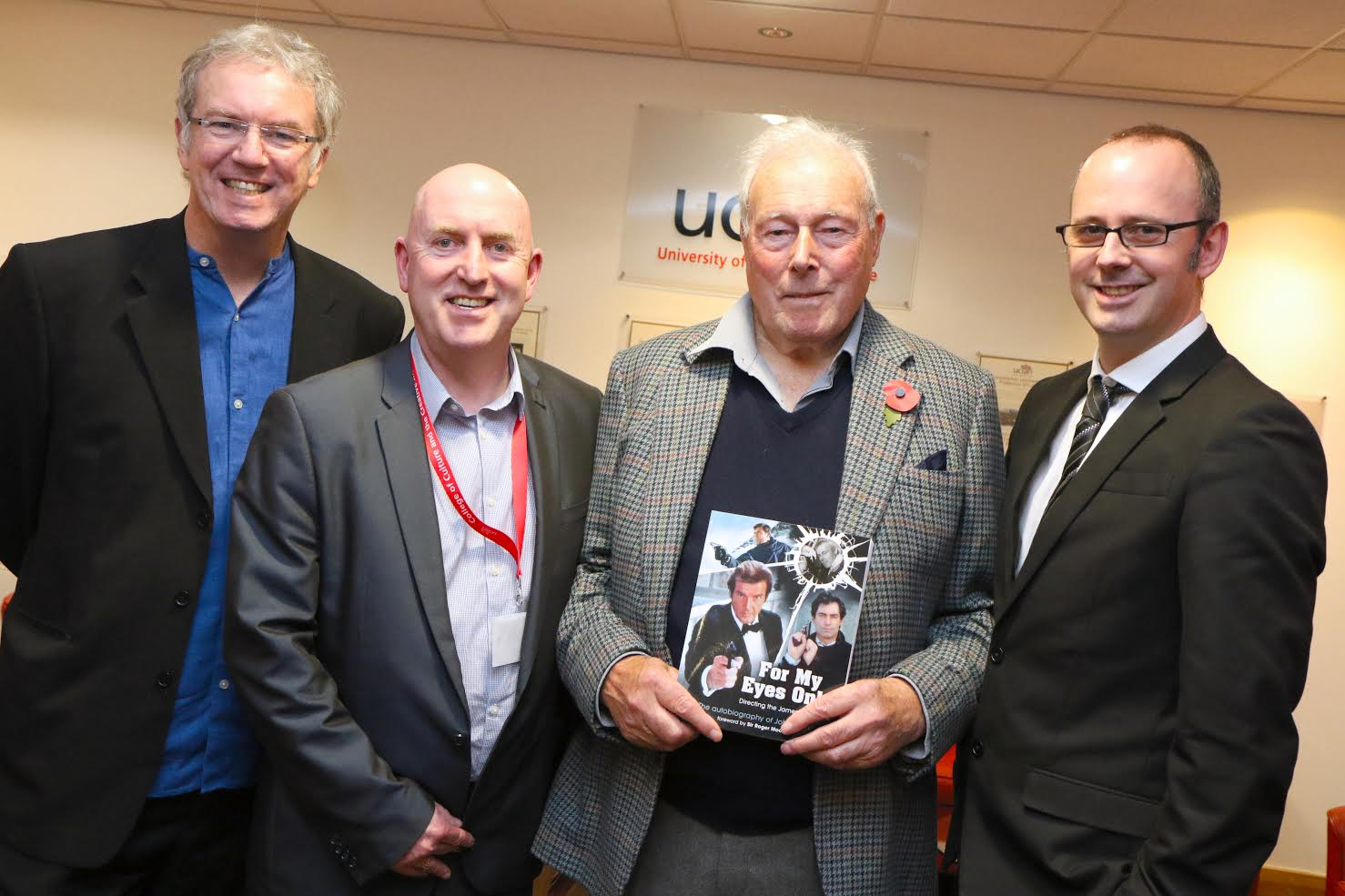 L-R UCLan screenwriting course leader Bill McCoid, Great Northern Creative Festival co-ordinator Alan Keegan, film director John Glen and Executive Dean of the College of Culture and the Creative Industries Dr Andrew Ireland.