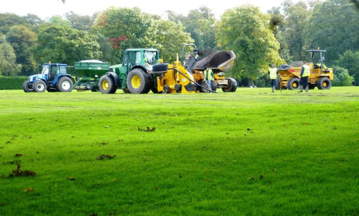 Drainage work on the cricket pitches