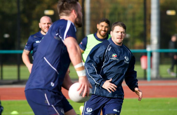 Scotland players in training at the Sports Arena