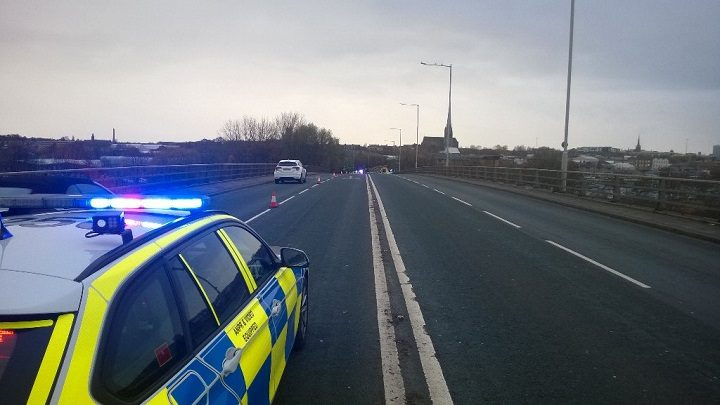 The Guild Way is closed heading into Preston Pic: LancsRoadPolice