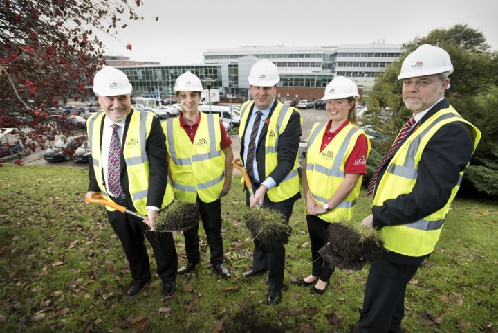 From left to right: David Taylor, Pro-Chancellor and Chair of the UCLan Board, Motorsports Engineering student Adam Ludgate, Northern Powerhouse Minister Andrew Percy MP, Motorsports Engineering student Dominique Roberts and UCLan Vice-Chancellor Professor Mike Thomas.