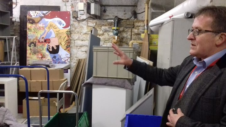 Councillor Peter Kelly explaining how the basement archives would be kept as part of the revamp
