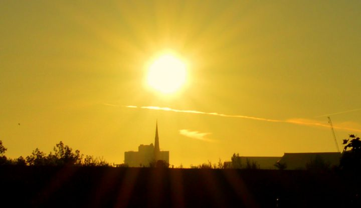 The sun rising over Preston Pic: Tony Worrall