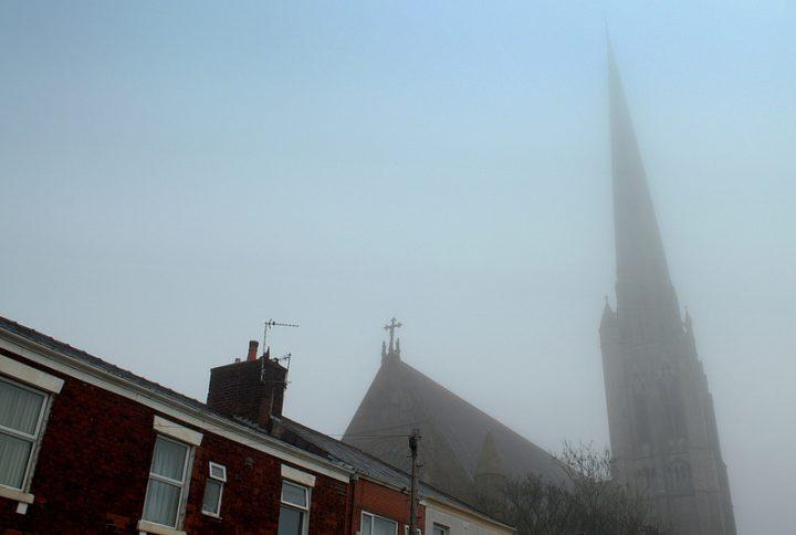 St Walburge's Church lurks in the gloom Pic: Tony Worrall