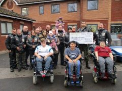 The bikers group at Derian Hospice to hand over the cheque