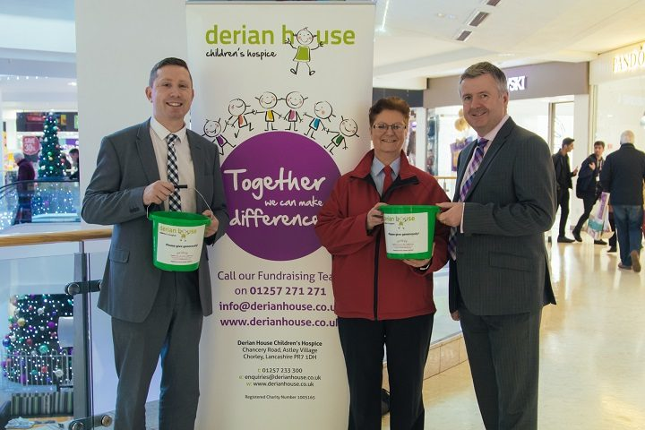 Derian fundraiser John Rollo with Alison (now with hair again) and Andrew Stringer from the shopping centre