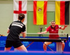 England took on Germany in the table tennis qualifier
