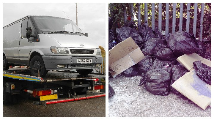 A van being towed away which was involved in fly-tipping, and bin bags dumped in Fulwood