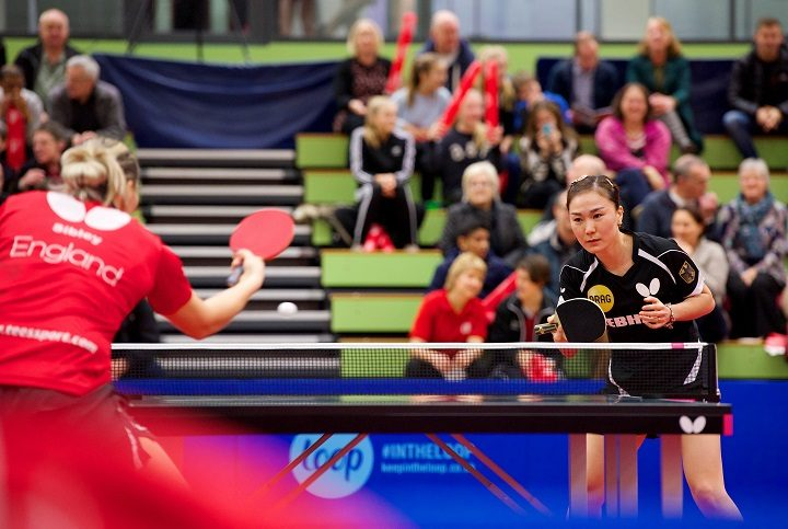 German table tennis player in action at UCLan
