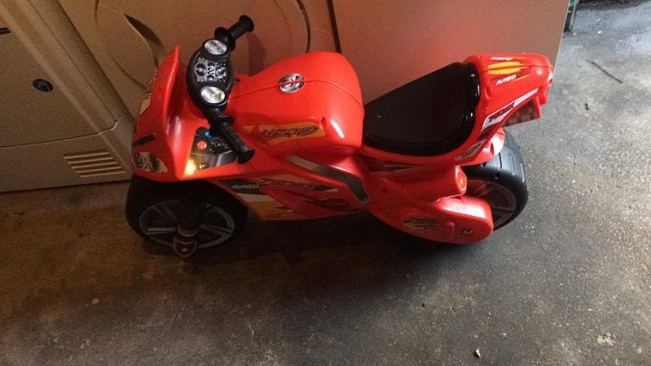 The toy motorbike was recovered nearby