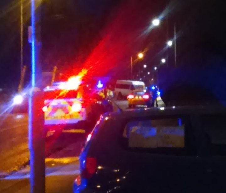 Police have closed off the road following the crash Pic: Tom Evans