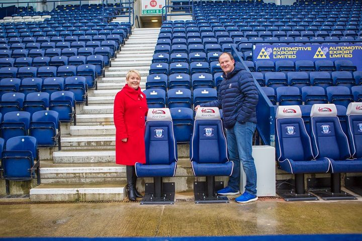 Anna Doran from Virgin Trains and North End manager Simon Grayson