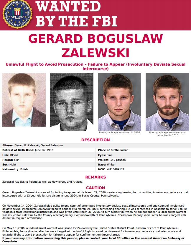 The arrest warrant issued for Zalewski