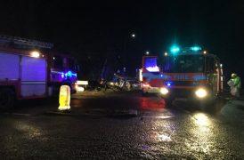Fire crews in attendance at the scene near Tarleton