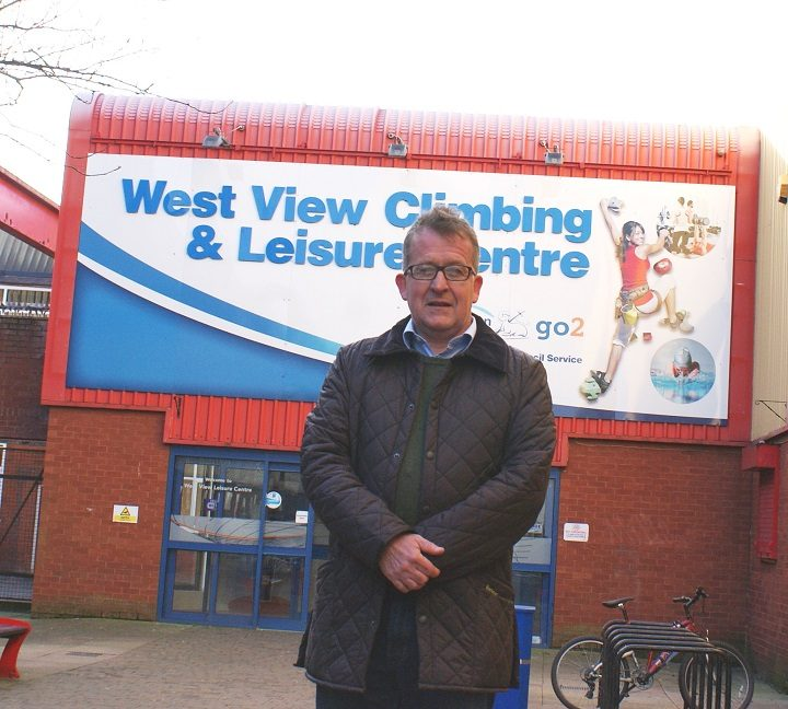 Councillor Peter Kelly outside West View Leisure Centre