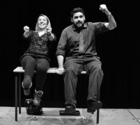 Faye Sheffield and Sean Galdo in rehearsals