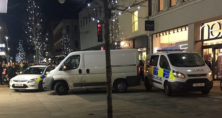 Crowds watch on as the police arrested the man in Fishergate Pic: Mark Ormerod