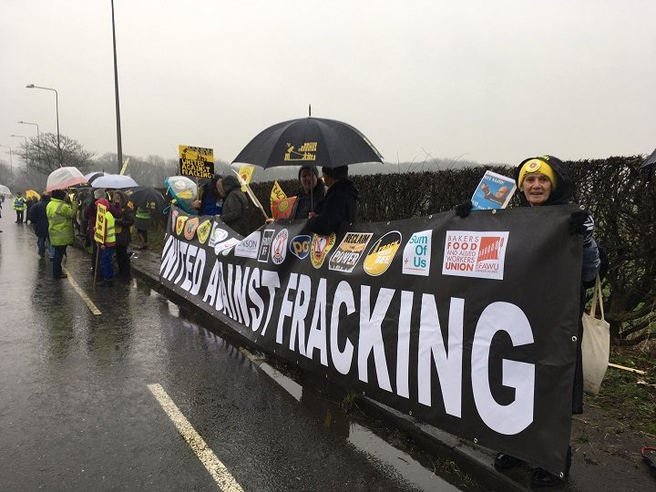 Banners displaying objections to the fracking