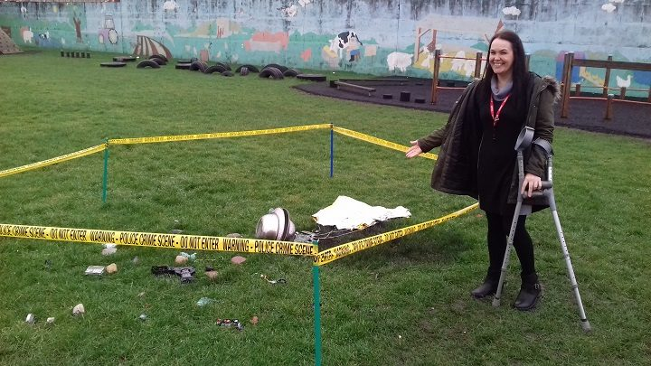 Ms Vickruck at the crash site