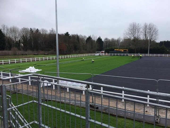The new artificial pitch coming together at Preston Grasshoppers