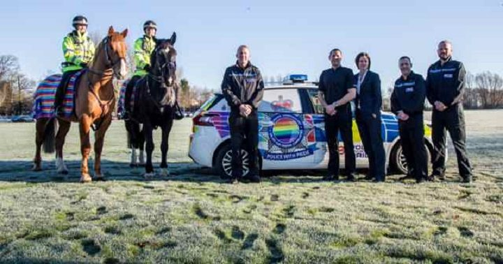 Horses Rufford (brown) and Finnigan (black), DCC Andy Rhodes, Ch Supt Stuart Noble, Ian Ashton, James Cooper, Supt Jo Edwards