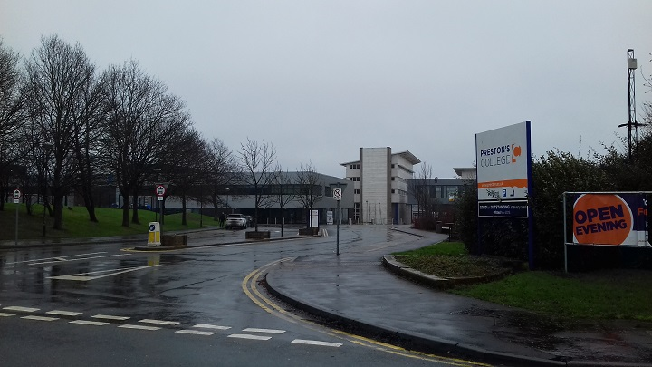Entrance to Preston's College in St Vincents Road in Fulwood
