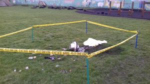 The police taped scene in the Ribbleton school playground