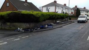 Remains of the bus stop following the Sunday morning crash