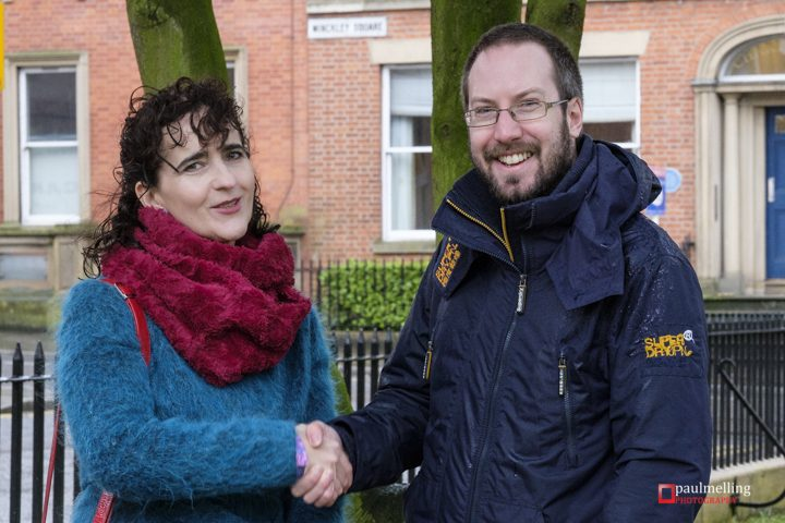 Claire Moore who is putting on the Edith Rigby show and Ed Walker, editor and founder of Blog Preston pictured in Winckley Square