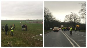 Protests break through the fencing at the Preston New Road site and earlier march down the A583 Pic: That's Lancashire TV