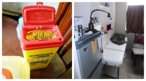 An overloaded sharps box in Cain's parlour and the unregistered premises found by council officers