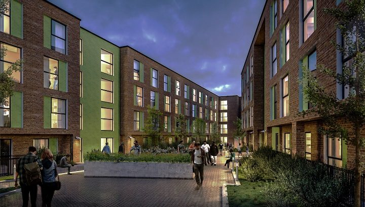 The courtyard proposed between the two blocks of flats