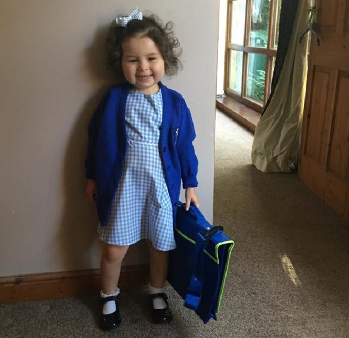 Pippa Cole heading to nursery in October last year