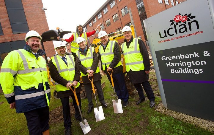 Michael Conlon (chairman of Conlon), Michael Ahern (COO UCLan), Sana Iqbal (SU President), Mike Thomas (VC UCLan), David Taylor (Chairman of the board UCLan) and Dave Smith (Director of Capital Projects UCLan)