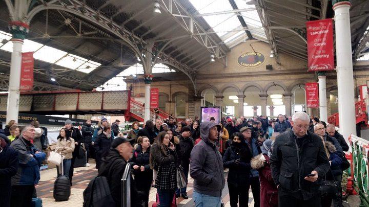 Stranded passengers at Preston Railway Station Pic: Benjamin Wareing