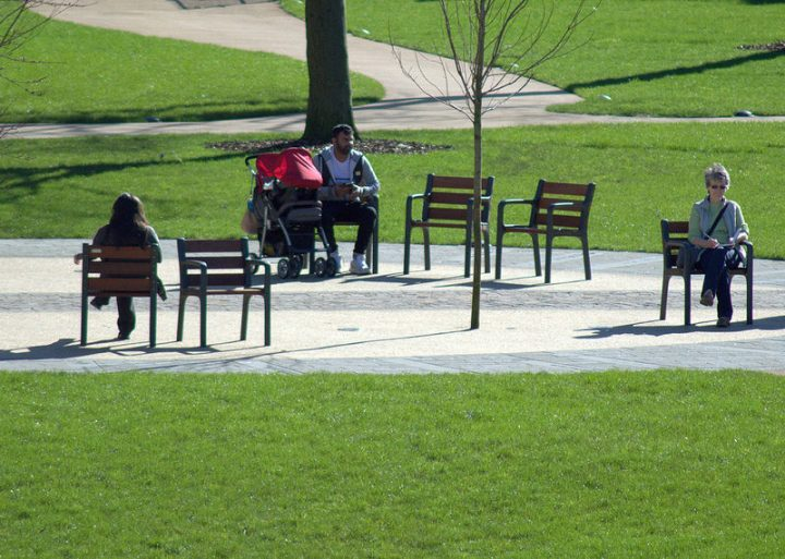 Enjoying the sunshine in the new Winckley Square seating area Pic: Tony Worrall