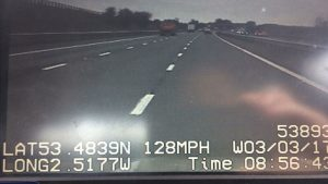 Dashcam footage from the police pursuit Pic: LancsRoadPolice