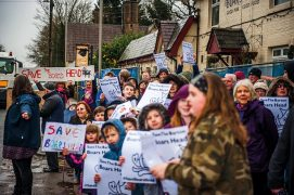 Protest outside the Boars Head showing support for keeping the pub as a community asset