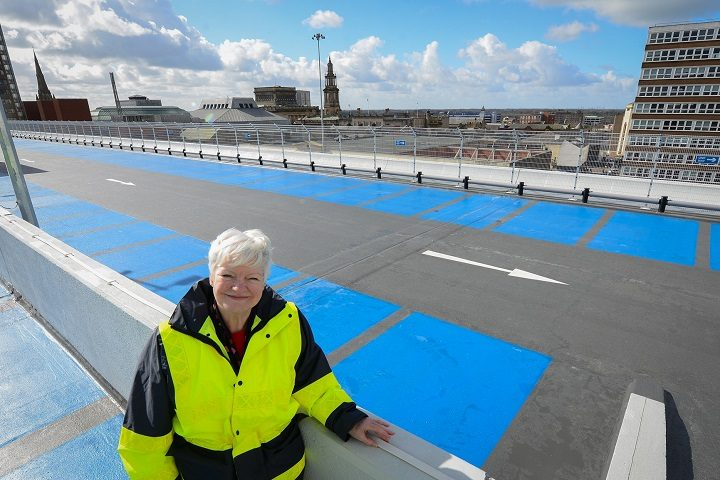 County councillor Jennifer Mein at the top of the Bus Station car park