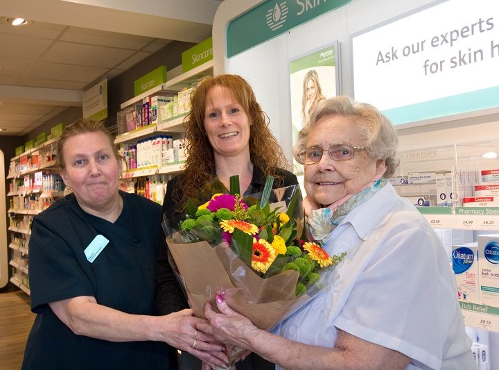 A nice touch as Doreen is presented with flowers