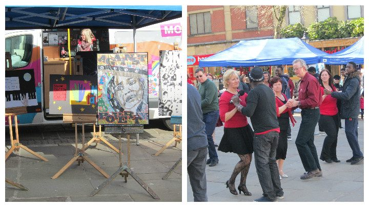 Art and dancing at the Flag Market event
