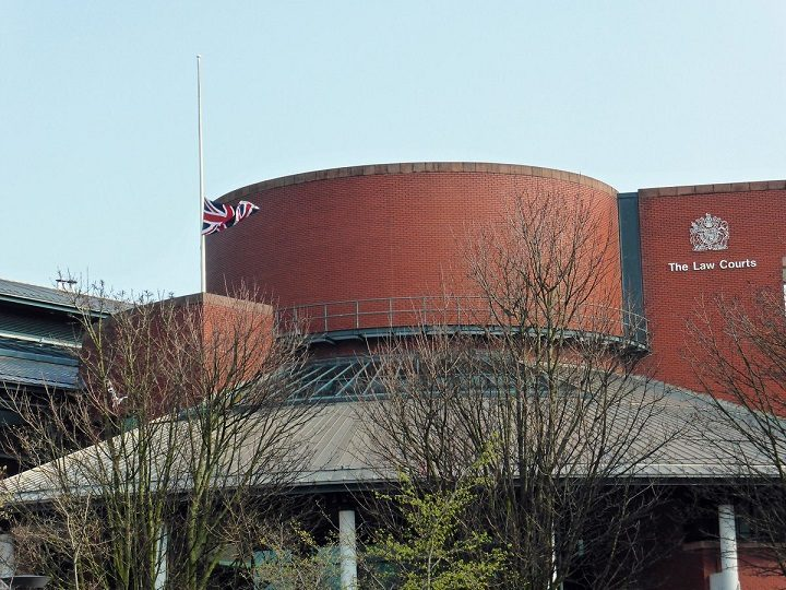 Flag at half mast at Preston law courts Pic: Jim Beattie
