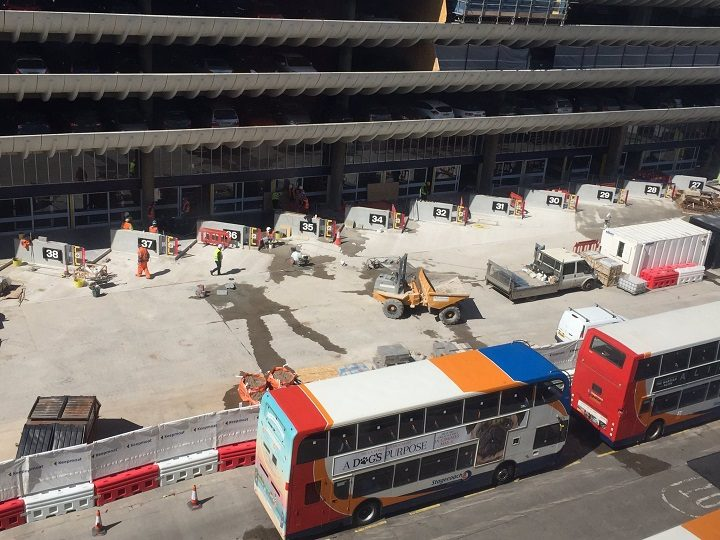 Building work at the Bus Station shows numbers for the stands