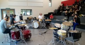 Jupp joins students for a jam session