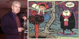 Leo Baxendale, left, with one of his comic creations Pic: British Comic Book Awards