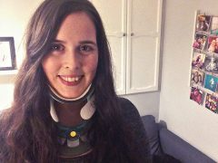 Mandy has to wear a neck brace to help prevent dizzy spells