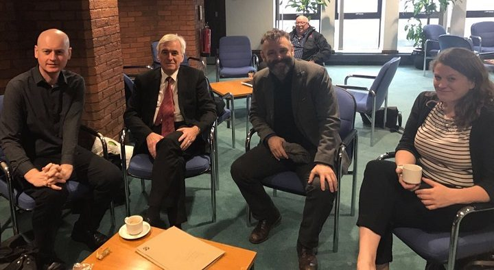Hollywood star Micheal Sheen was in Preston meeting Preston councillors (far left) and the shadow chancellor