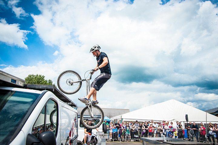 Stunt bikes in action
